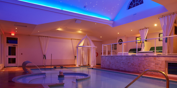 Images of an indoor water spa